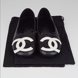 AUTHENTIC CHANEL QUILTED LEATHER FLATS